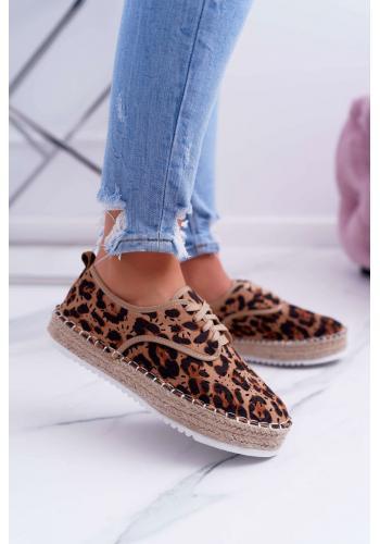 Hnedé ažúrové espadrilky s leopardím vzorom pre dámy