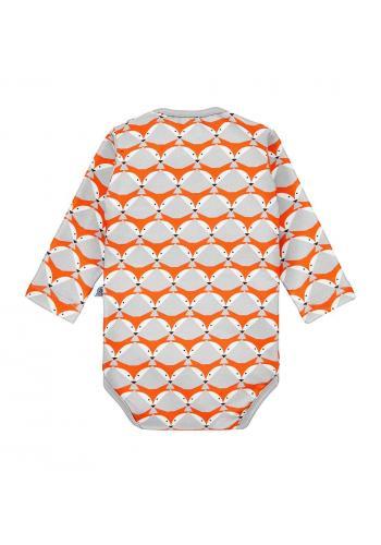 Sivé bavlnené body s oranžovou potlačou líšky