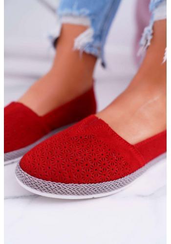 Červené semišové espadrilky pre dámy