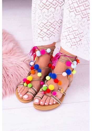 Dámske viazané sandále s farebnými pompónmi