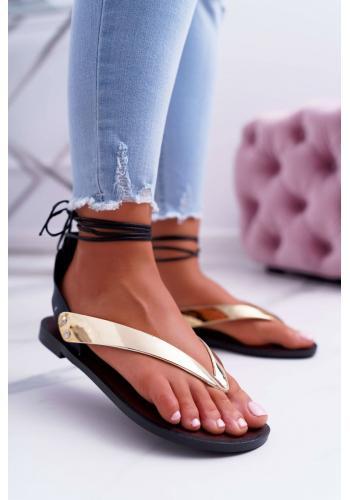 Gumené dámske sandále zlatej farby s viazaním