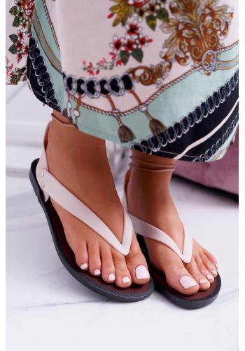 Béžové gumené sandále s viazaním pre dámy