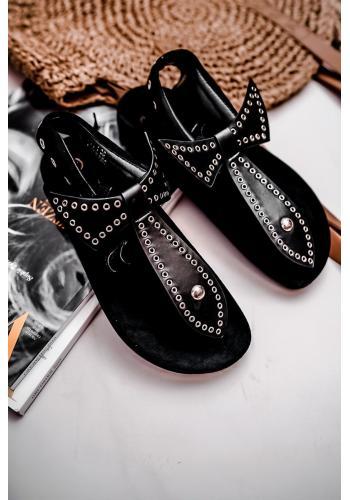 Čierne štýlové sandále so striebornými kolieskami pre dámy