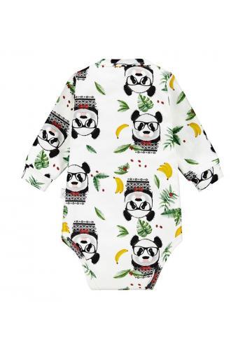 Biele bavlnené body s dlhým rukávom, s motívom pandy