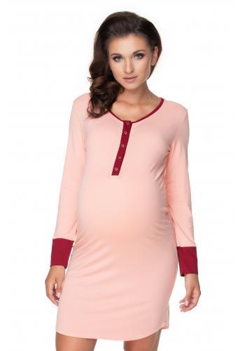 Púdrová dojčiaca a tehotenská nočná košeľa na kŕmenie s gombíky na hrudi