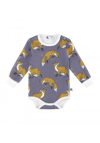 Bavlnené body modrej farby s dlhým rukávom, s potlačou líšky