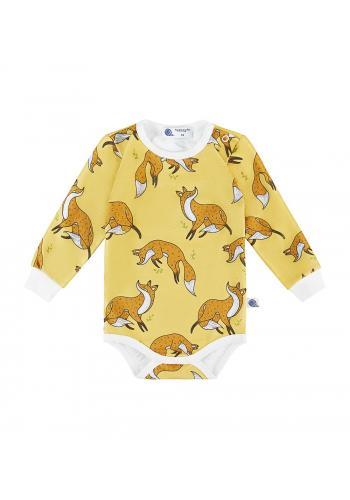 Žlté bavlnené body s dlhým rukávom, s potlačou líšky