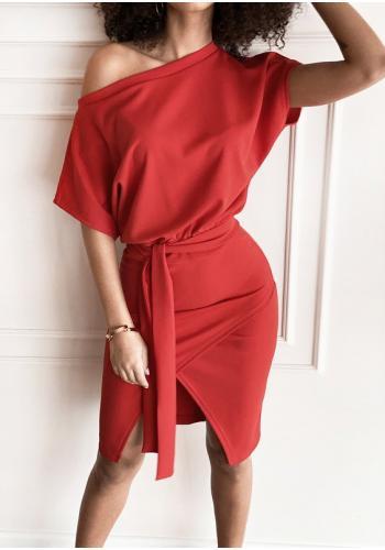 Dámske midi šaty v červenej farbe s viazaním