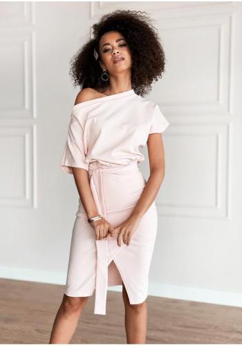 Púdrovo-ružové midi šaty pre dámy s viazaním v páse