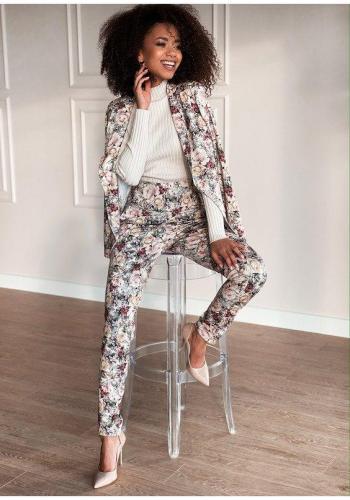 Dámske nohavice s vysokým pásom s potlačou kvetov