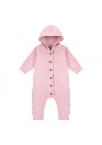 Bavlnený overal ružovej farby s dlhým rukávom a kapucňou
