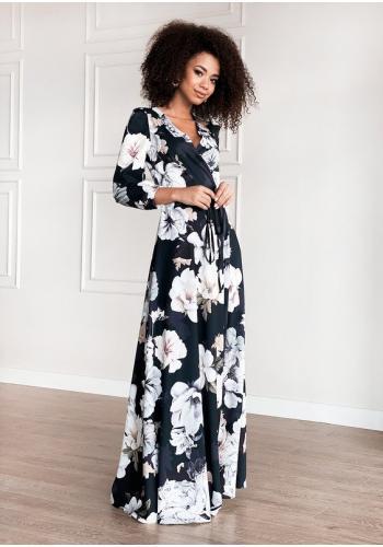 Obálkové maxi šaty pre dámy, čierne s bielymi kvetmi