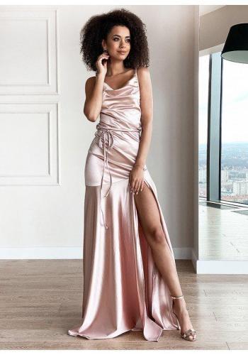 Saténové maxi šaty v púdrovej farbe pre dámy