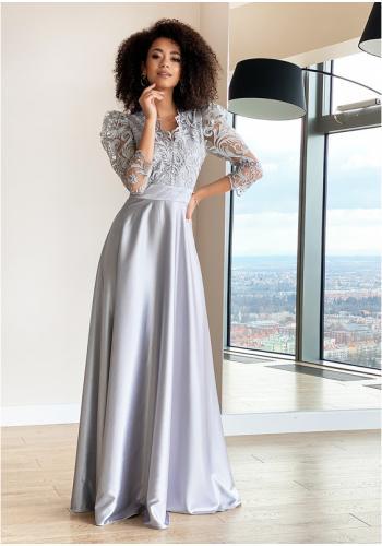 Maxi strieborné šaty pre dámy