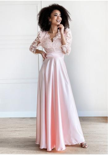 Púdrové maxi šaty s čipkovým vrchom a rukávmi
