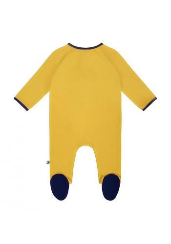 Bavlnený overal v horčicovej farbe s dlhým rukávom so zipsom