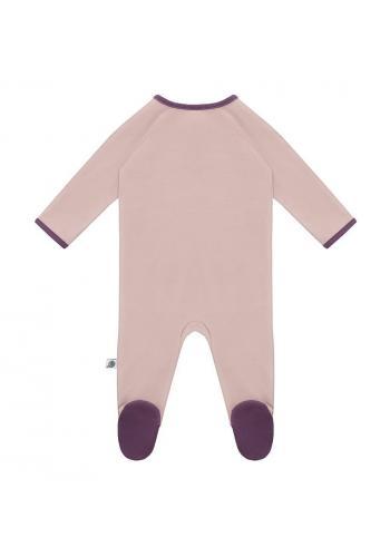 Fialový bavlnený overal s dlhým rukávom na zips