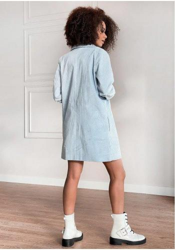 Menčestrové sako s rovným strihom v modrej farbe
