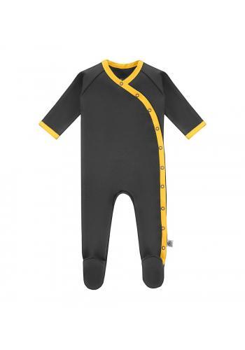 Šedý bavlnený overal s dlhým rukávom a žltým olemovaním na zips