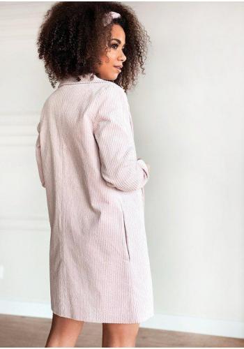 Dámske menčestrové predlžené sako s rovným strihom v púdrovej farbe