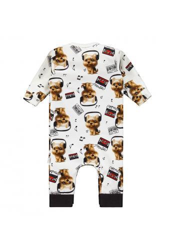 Krémový bavlnený overal s potlačou vtipných psíkov