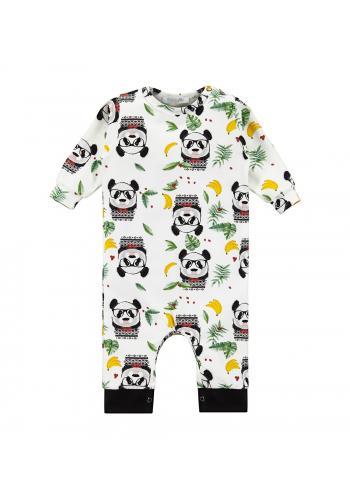 Bavlnený overal v krémovom odtieni s motívom vtipnej pandy