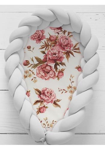 Pletený detský kokon PREMIUM 2 v 1 - svetlo sivý/kvety