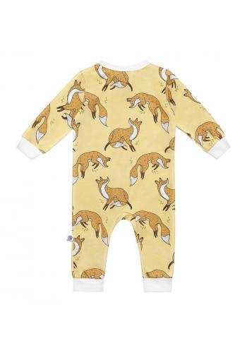 Bavlnený overal v žltej farbe s dlhým rukávom, s potlačou líšky