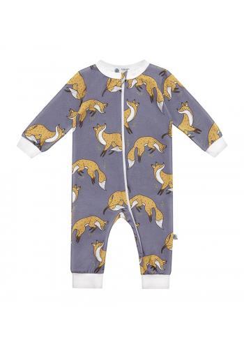 Modrý bavlnený overal s dlhým rukávom, s potlačou líšky
