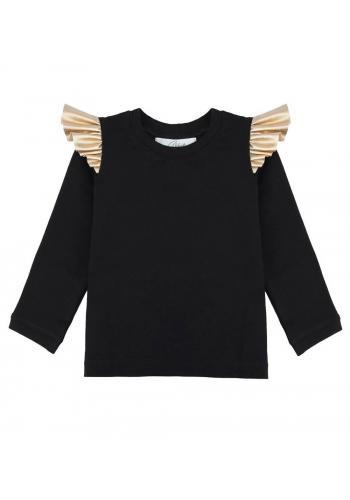 Čierna bavlnená blúzka s dlhým rukávom a zlatými, ozdobnými volánmi na ramenách