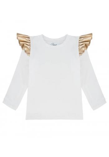 Biela bavlnená blúzka s dlhým rukávom a zlatými ozdobnými volánmi na ramenách
