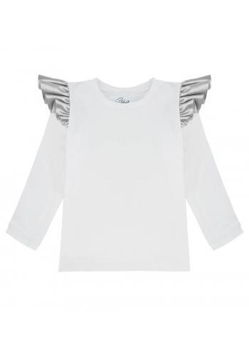 Bavlnená blúzka bielej farby s dlhým rukávom a striebornými ozdobnými volánmi na ramenách