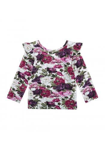 Kvetinová bavlnená blúzka s dlhým rukávom a ozdobnými volánmi na ramenách