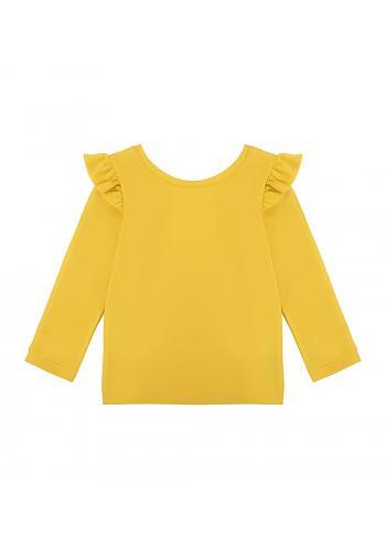 Žltá bavlnená blúzka s dlhým rukávom a ozdobnými volánmi na ramenách