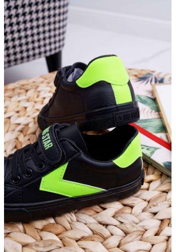 Čierne módne tenisky Big Star so suchým zipsom pre deti