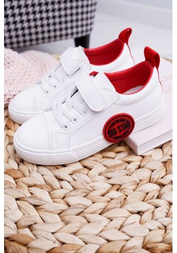 Biele módne tenisky Big Star so suchým zipsom pre deti