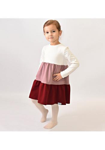 Trojfarebné bavlnené šaty s dlhým rukávom pre dievčatká
