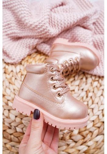Ružovo-zlaté oteplené Workery pre deti