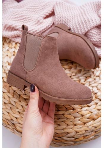 Dievčenské semišové čižmy v kaki farbe