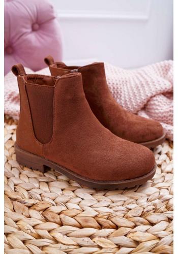 Hnedé semišové čižmy pre dievčatá