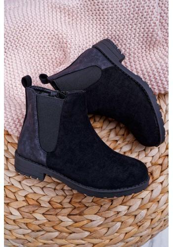 Semišové dievčenské čižmy čiernej farby