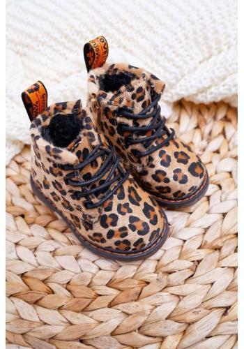 Detské čižmy s leopardím vzorom v kaki farbe