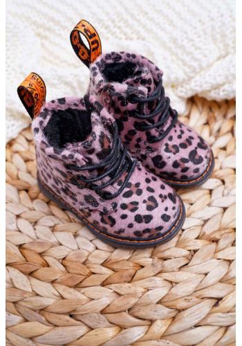 Ružové čižmy s leopardím vzorom pre deti