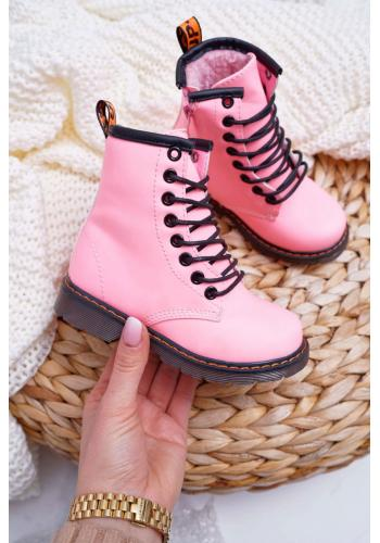 Oteplené detské čižmy ružovej farby