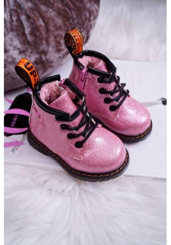 Lakované detské čižmy ružovej farby s brokátom