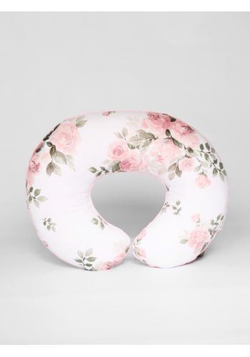 Biely dojčiaci vankúš v tvare C - kvety