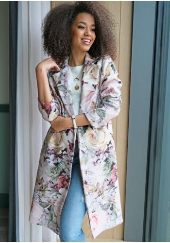 Krémový kvetinový kabát pre dámy