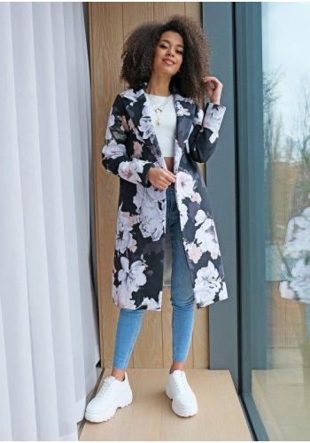Dámsky čierny kvetinový kabát
