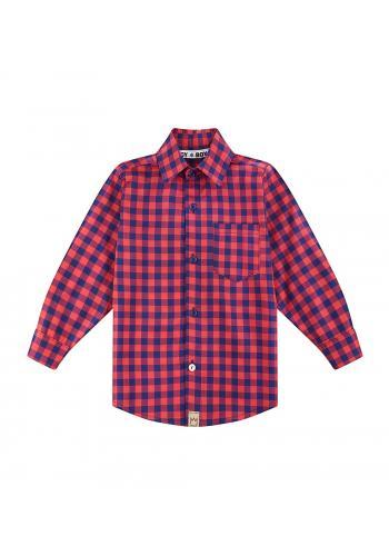 Kockovaná bavlnená košeľa s dlhým rukávom pre chlapcov v červeno-modrej kombinácii