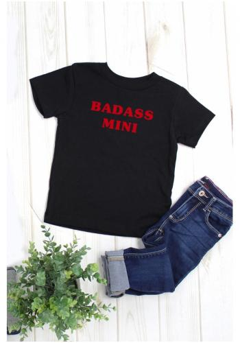 """Čierne tričko s červeným nápisom """"Badass mini"""""""